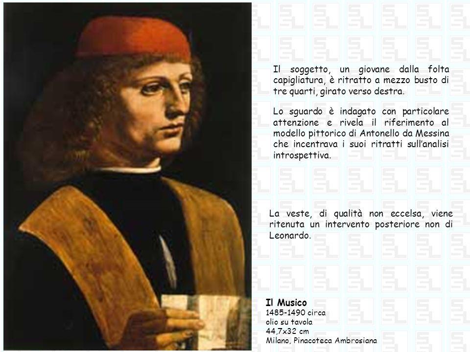 Il soggetto, un giovane dalla folta capigliatura, è ritratto a mezzo busto di tre quarti, girato verso destra.