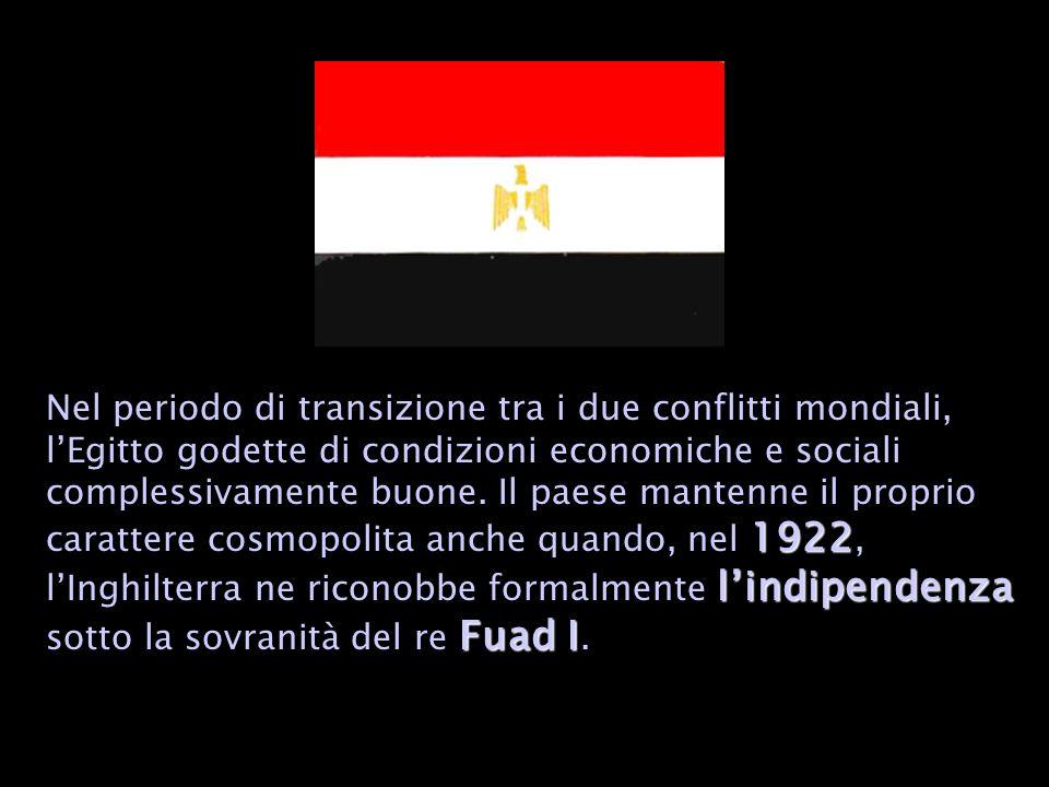 Nel periodo di transizione tra i due conflitti mondiali, l'Egitto godette di condizioni economiche e sociali complessivamente buone.