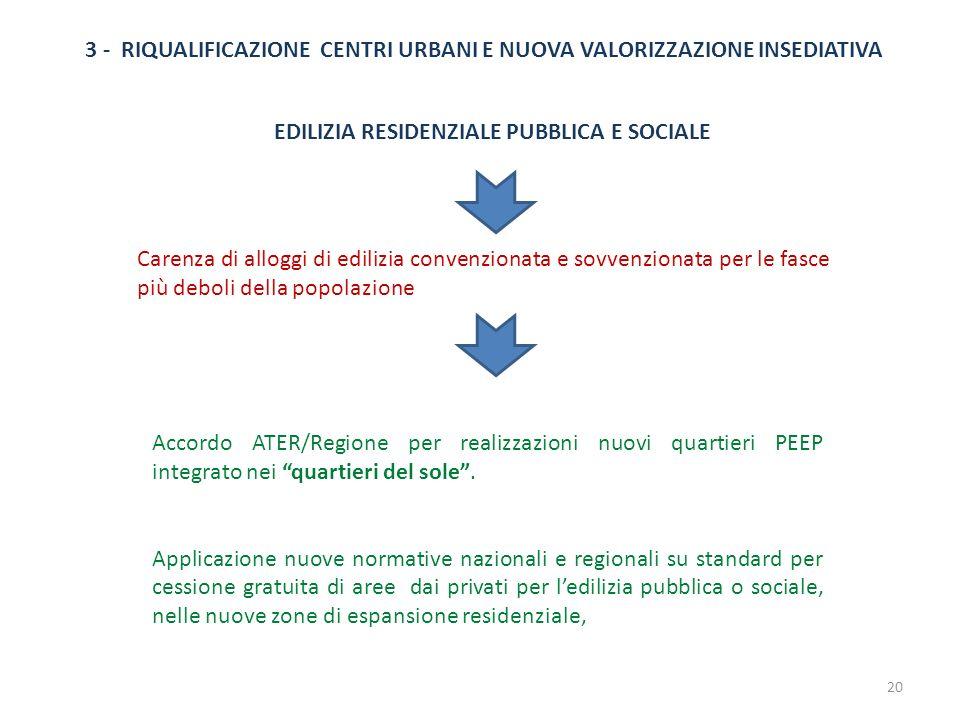 3 - RIQUALIFICAZIONE CENTRI URBANI E NUOVA VALORIZZAZIONE INSEDIATIVA