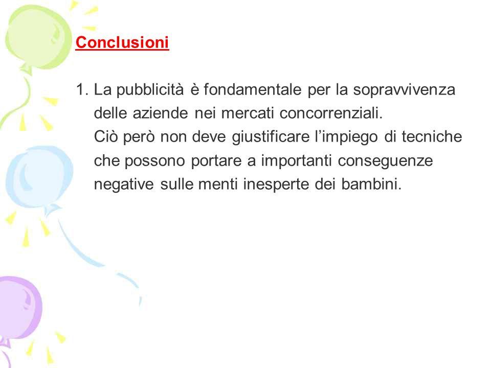 Conclusioni 1. La pubblicità è fondamentale per la sopravvivenza. delle aziende nei mercati concorrenziali.