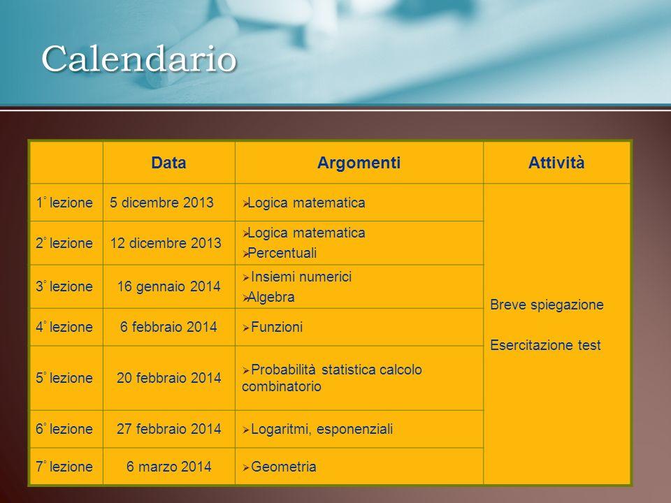 Calendario Data Argomenti Attività 1° lezione 5 dicembre 2013