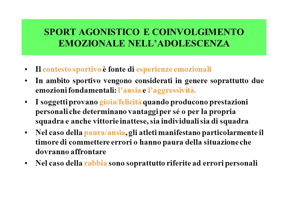SPORT AGONISTICO E COINVOLGIMENTO EMOZIONALE NELL'ADOLESCENZA