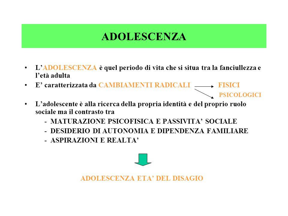 ADOLESCENZA L'ADOLESCENZA è quel periodo di vita che si situa tra la fanciullezza e l'età adulta.