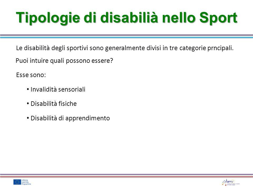 Tipologie di disabilià nello Sport