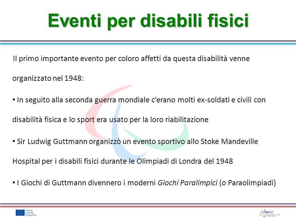 Eventi per disabili fisici