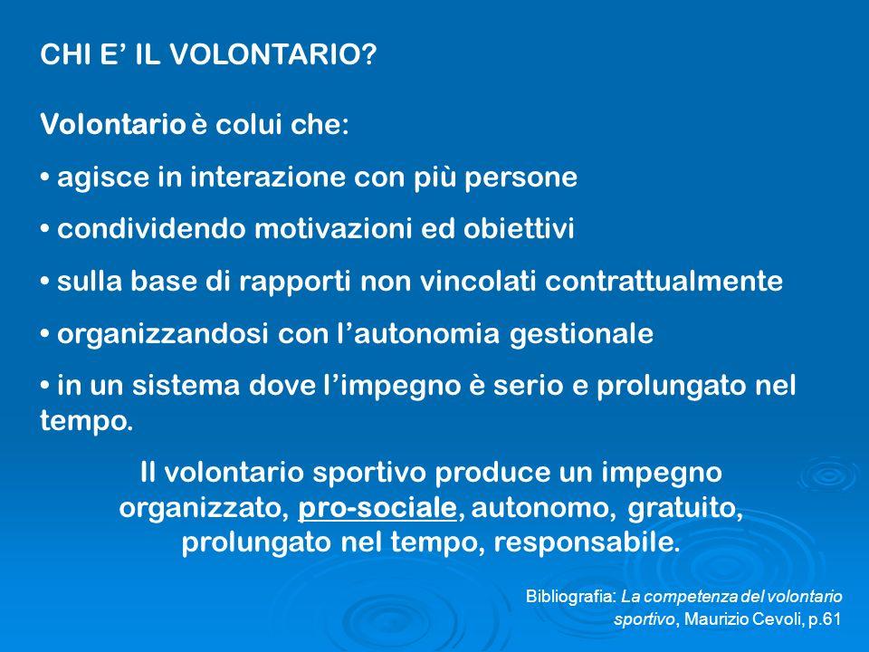 Volontario è colui che: agisce in interazione con più persone
