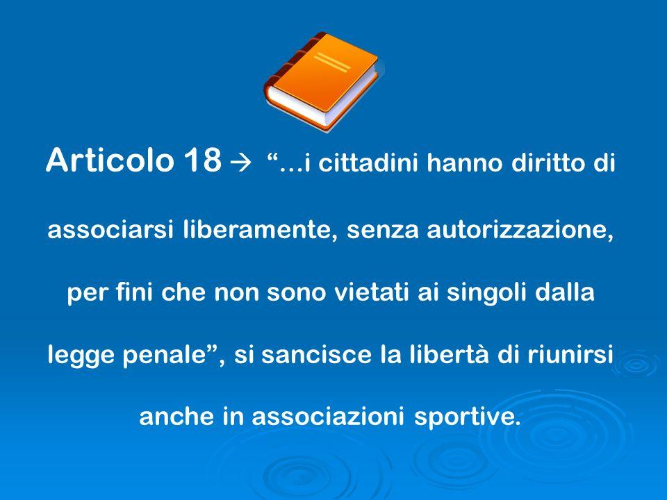 Articolo 18  …i cittadini hanno diritto di associarsi liberamente, senza autorizzazione, per fini che non sono vietati ai singoli dalla legge penale , si sancisce la libertà di riunirsi anche in associazioni sportive.