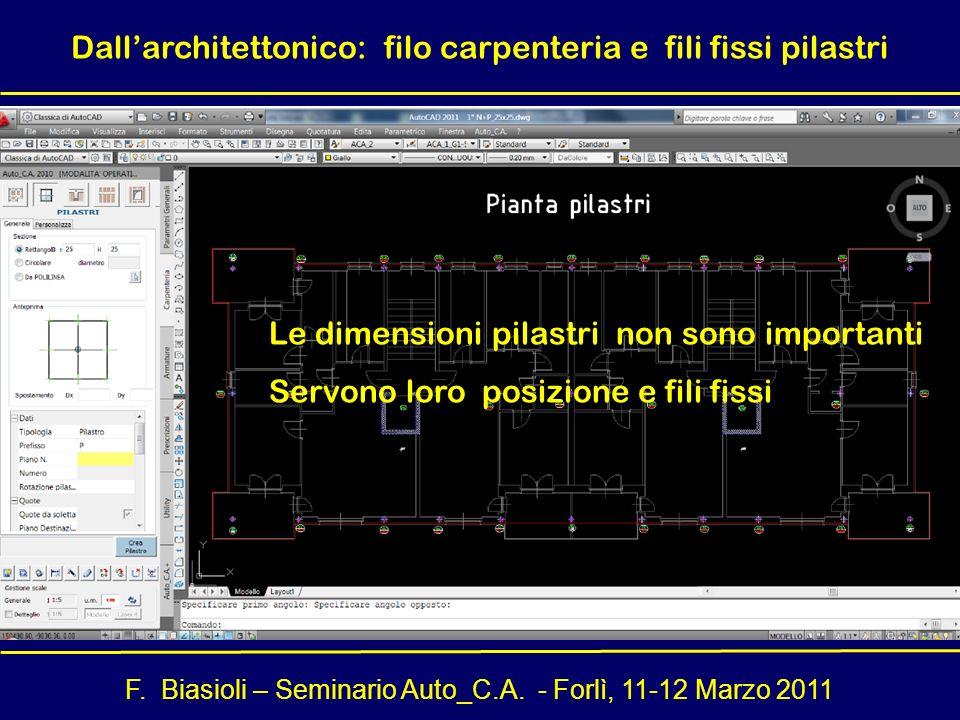 Dall'architettonico: filo carpenteria e fili fissi pilastri