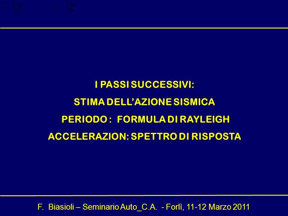 STIMA DELL'AZIONE SISMICA PERIODO : FORMULA DI RAYLEIGH