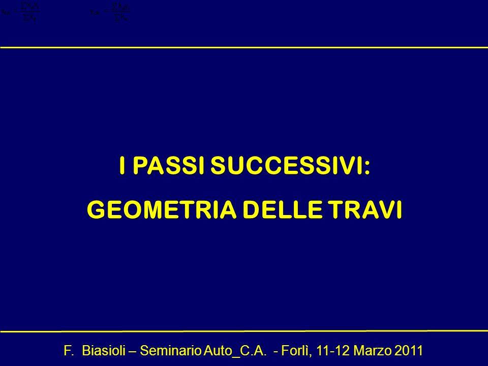 I PASSI SUCCESSIVI: GEOMETRIA DELLE TRAVI