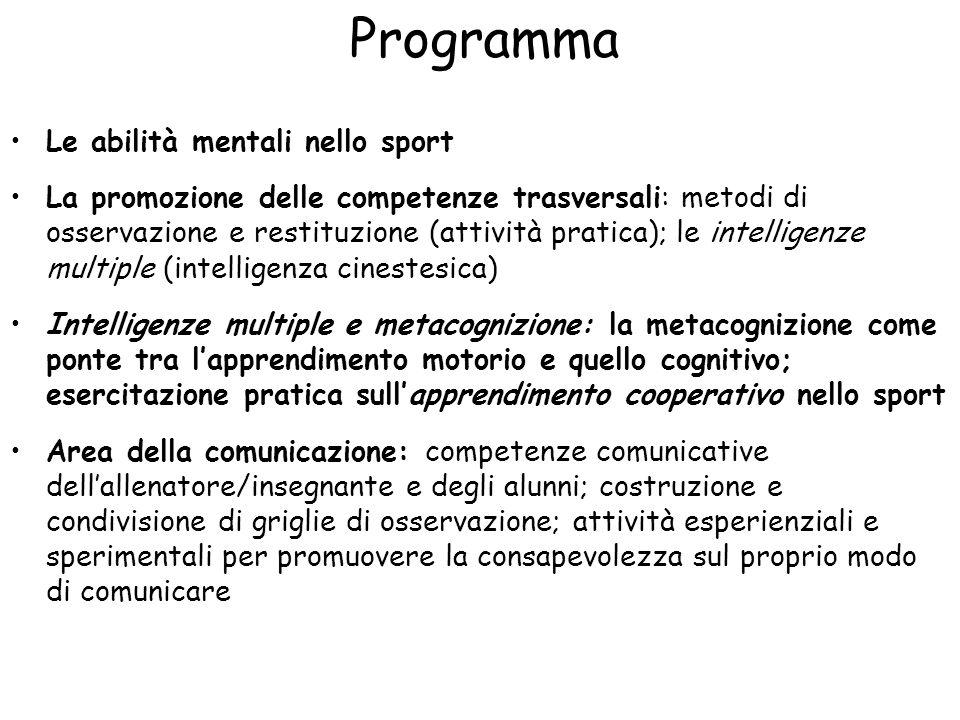 Programma Le abilità mentali nello sport