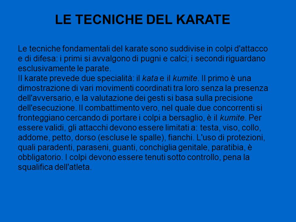 LE TECNICHE DEL KARATE