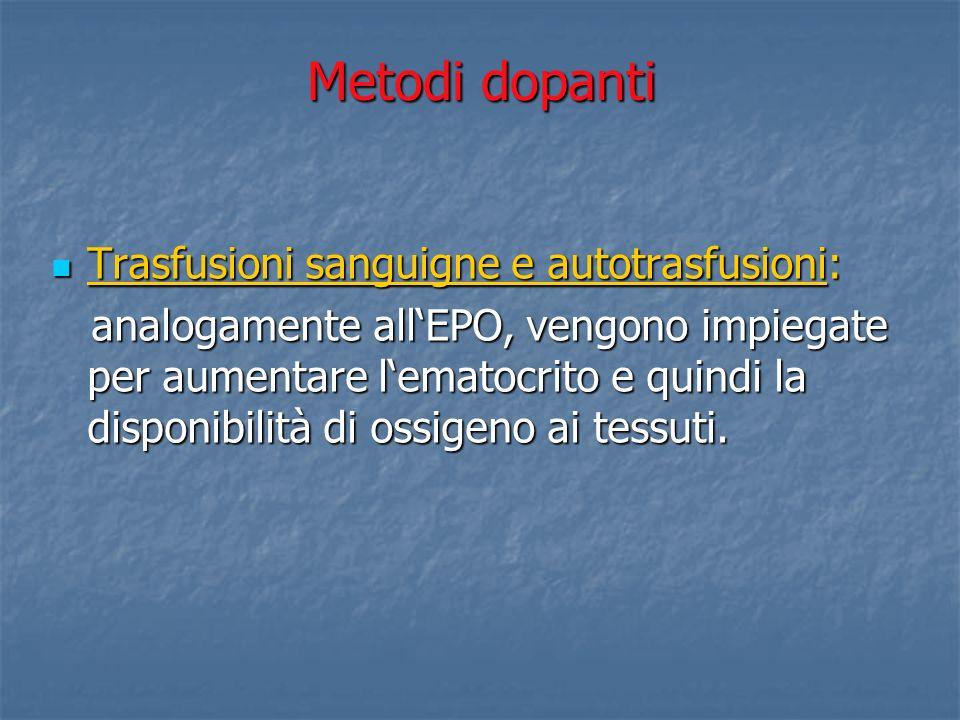 Metodi dopanti Trasfusioni sanguigne e autotrasfusioni: