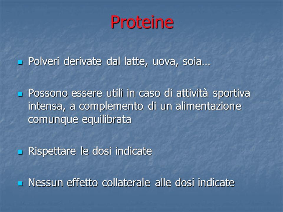 Proteine Polveri derivate dal latte, uova, soia…
