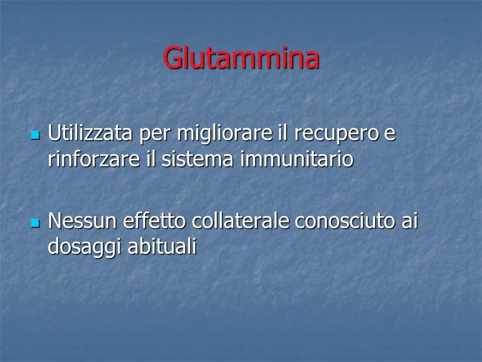 GlutamminaUtilizzata per migliorare il recupero e rinforzare il sistema immunitario.