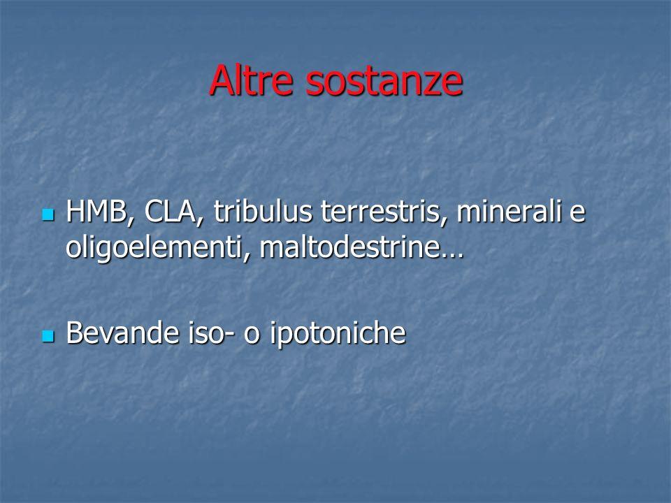Altre sostanze HMB, CLA, tribulus terrestris, minerali e oligoelementi, maltodestrine… Bevande iso- o ipotoniche.