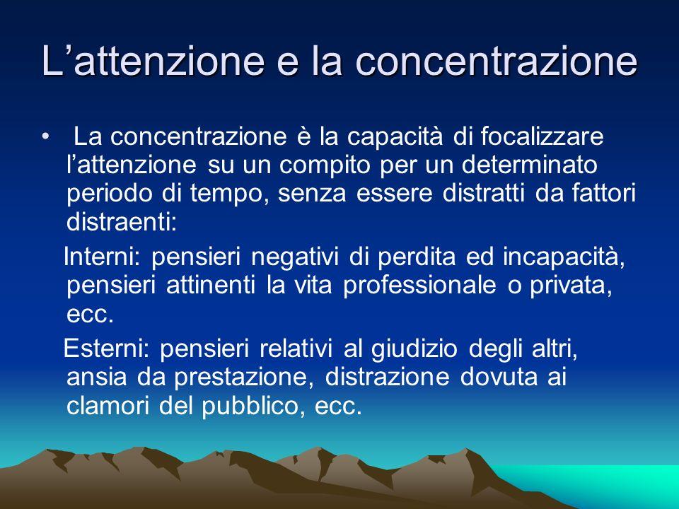 L'attenzione e la concentrazione