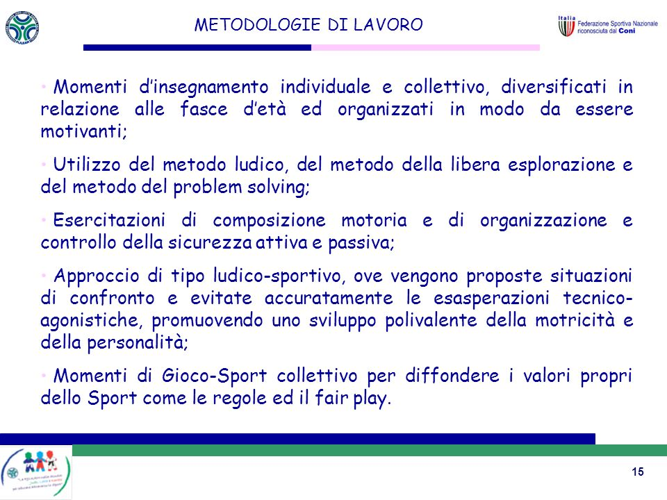 METODOLOGIE DI LAVORO