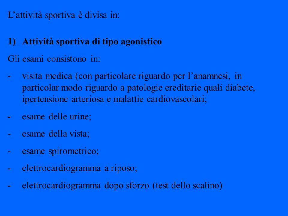 L'attività sportiva è divisa in: