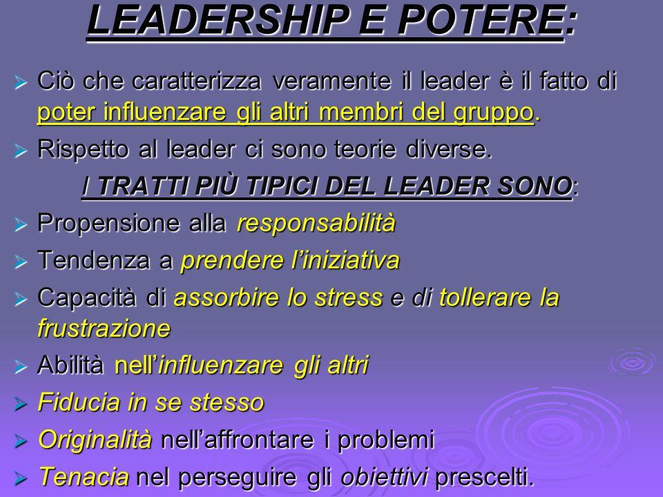 I TRATTI PIÙ TIPICI DEL LEADER SONO: