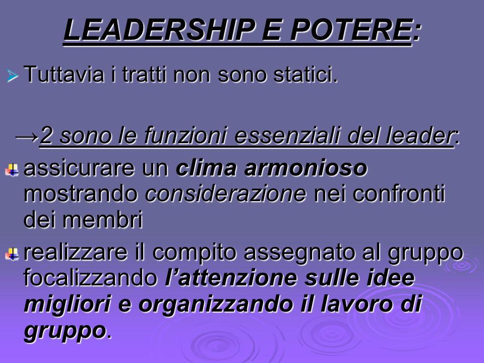 →2 sono le funzioni essenziali del leader: