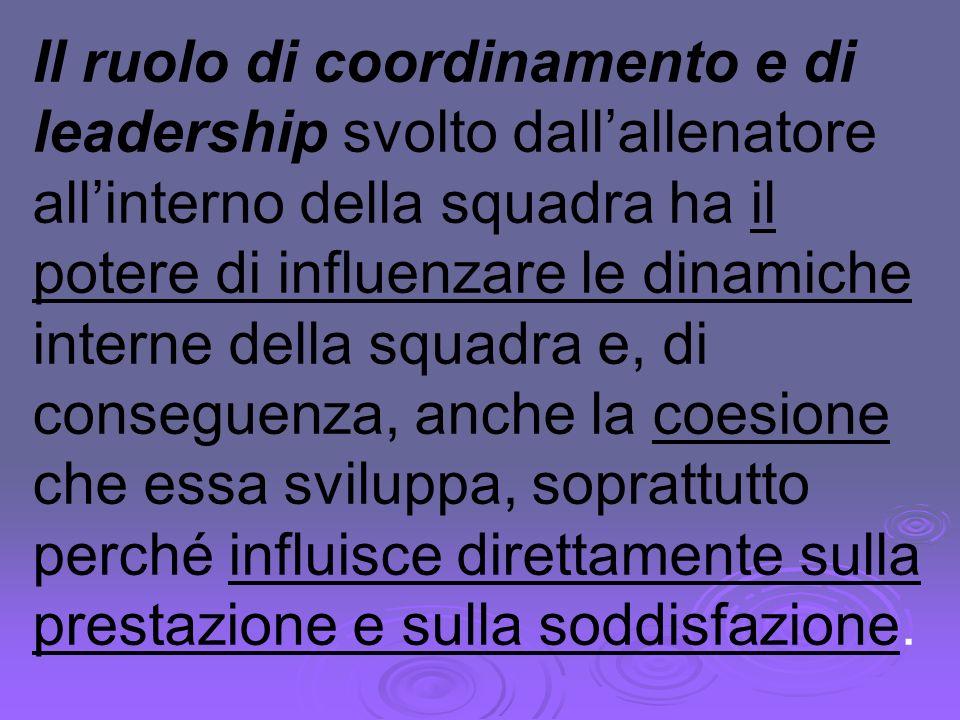 Il ruolo di coordinamento e di leadership svolto dall'allenatore all'interno della squadra ha il potere di influenzare le dinamiche interne della squadra e, di conseguenza, anche la coesione che essa sviluppa, soprattutto perché influisce direttamente sulla prestazione e sulla soddisfazione.