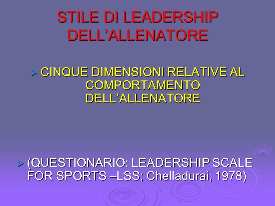 STILE DI LEADERSHIP DELL'ALLENATORE