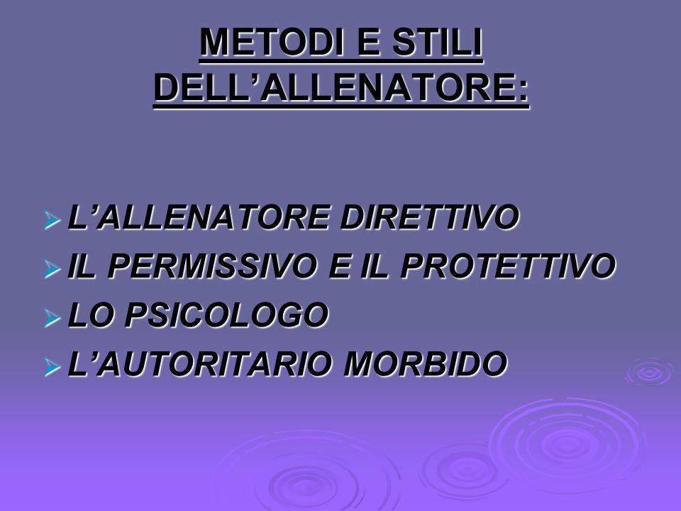 METODI E STILI DELL'ALLENATORE: