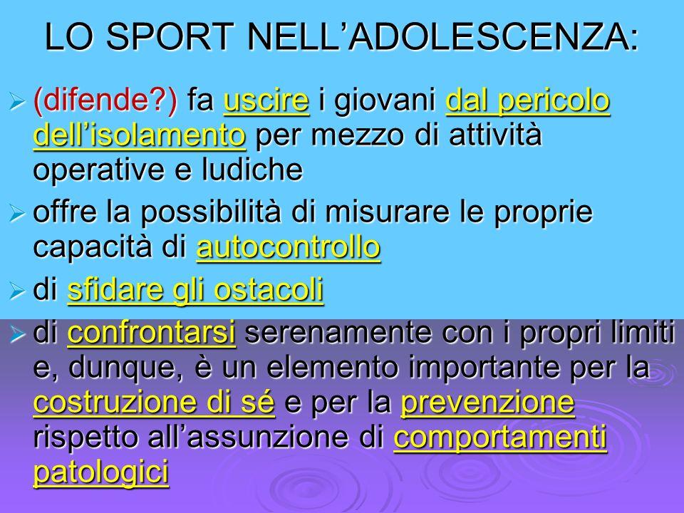 LO SPORT NELL'ADOLESCENZA: