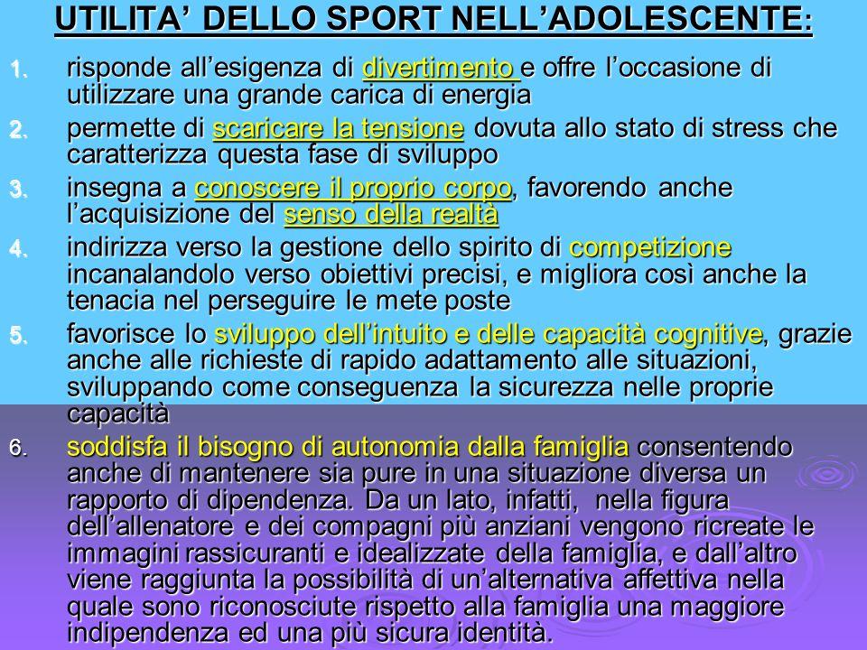 UTILITA' DELLO SPORT NELL'ADOLESCENTE: