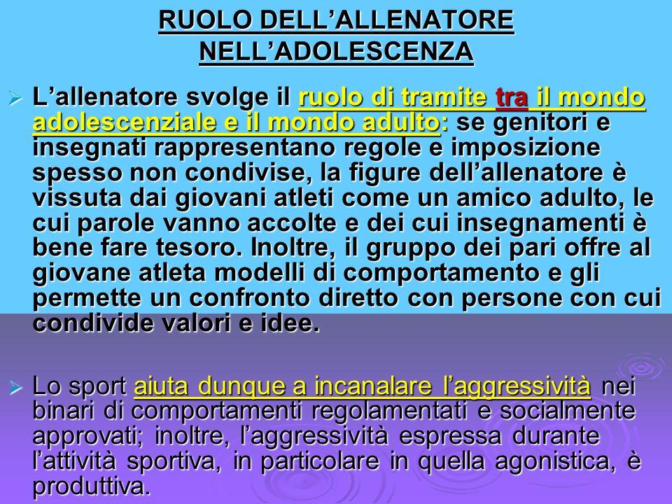 RUOLO DELL'ALLENATORE NELL'ADOLESCENZA