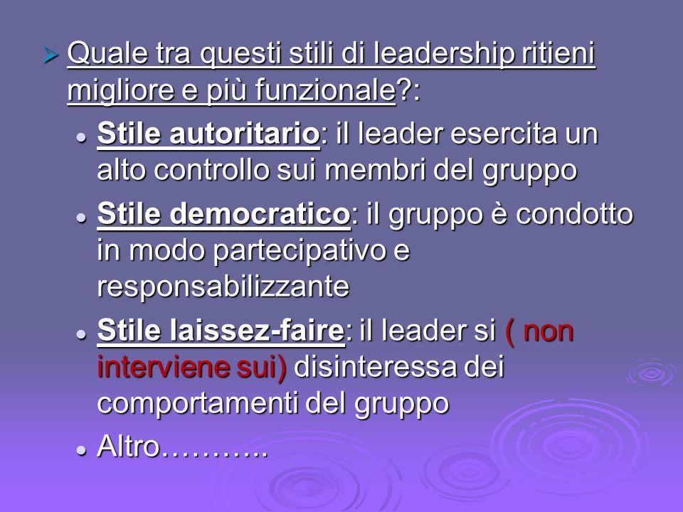 Quale tra questi stili di leadership ritieni migliore e più funzionale