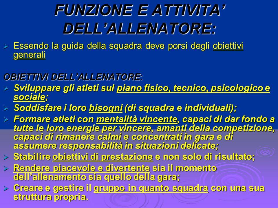 FUNZIONE E ATTIVITA' DELL'ALLENATORE: