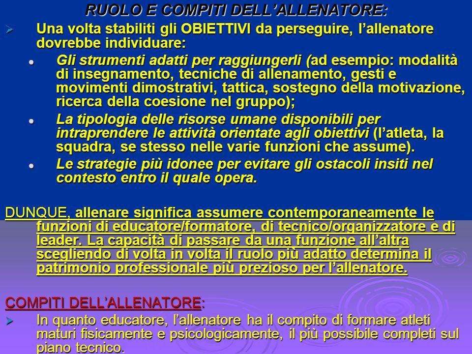 RUOLO E COMPITI DELL'ALLENATORE: