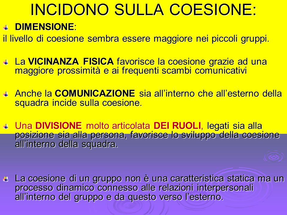 INCIDONO SULLA COESIONE: