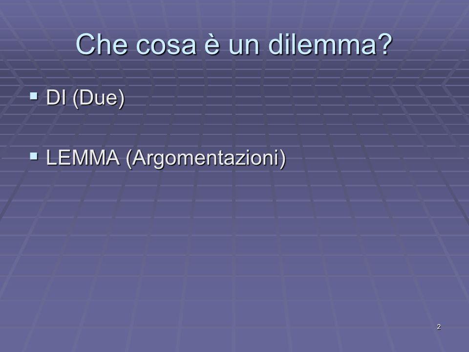 Che cosa è un dilemma DI (Due) LEMMA (Argomentazioni)