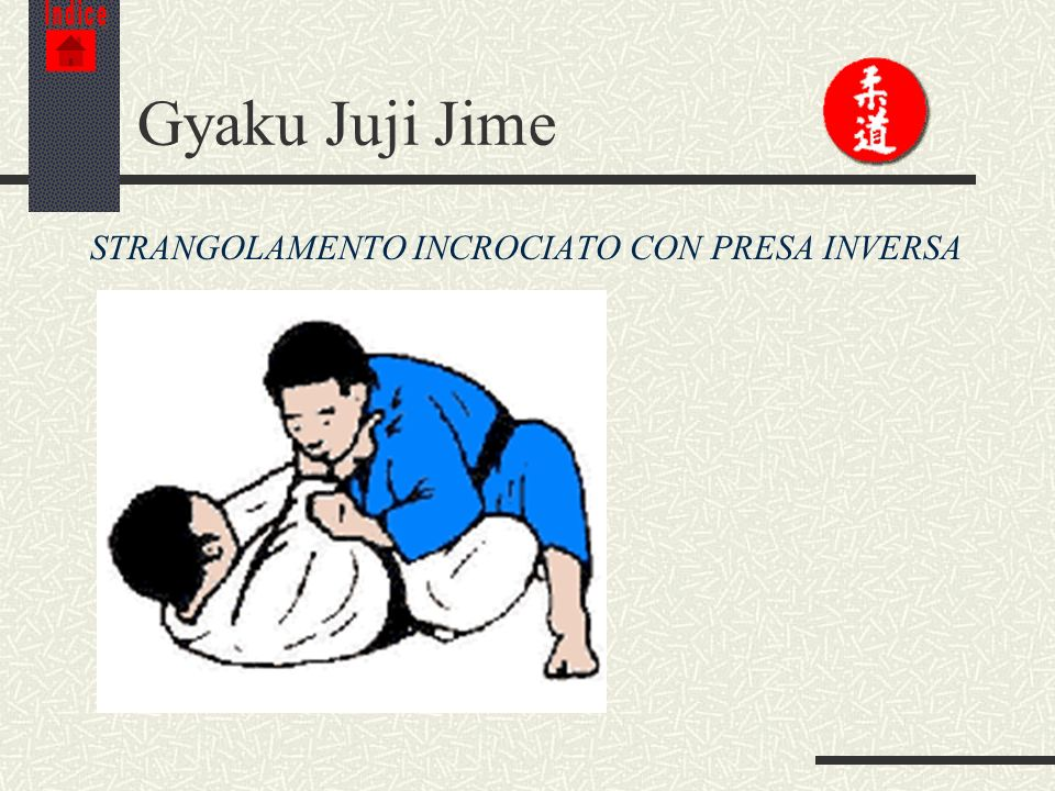 Indice Gyaku Juji Jime STRANGOLAMENTO INCROCIATO CON PRESA INVERSA