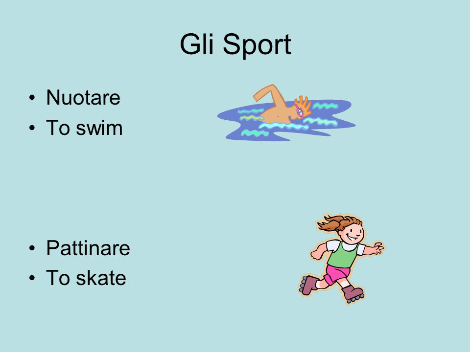 Gli Sport Nuotare To swim Pattinare To skate