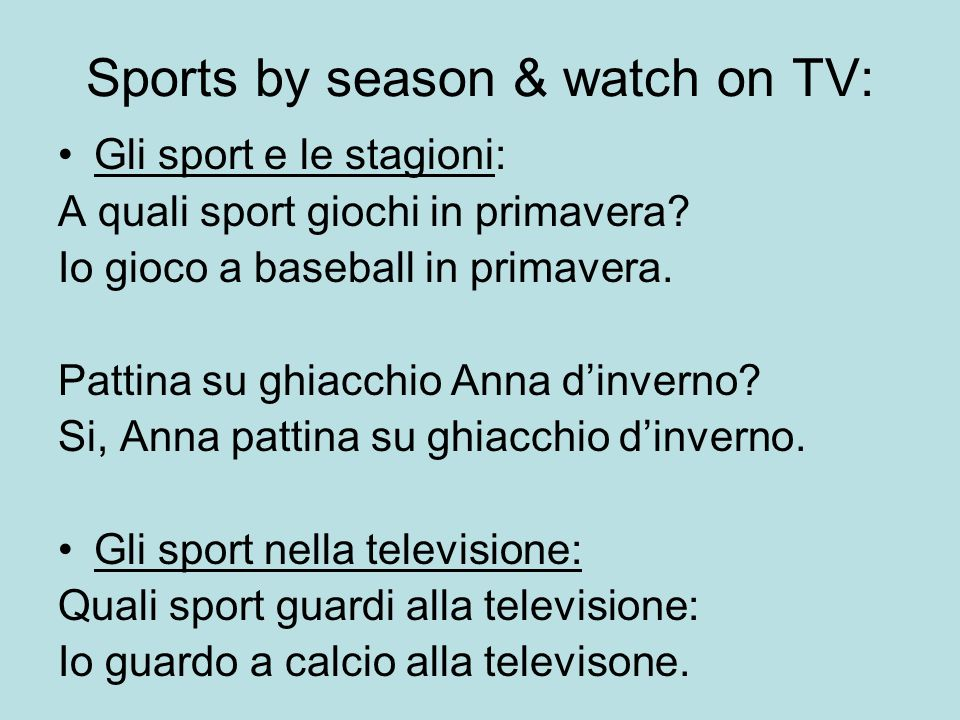 Sports by season & watch on TV:
