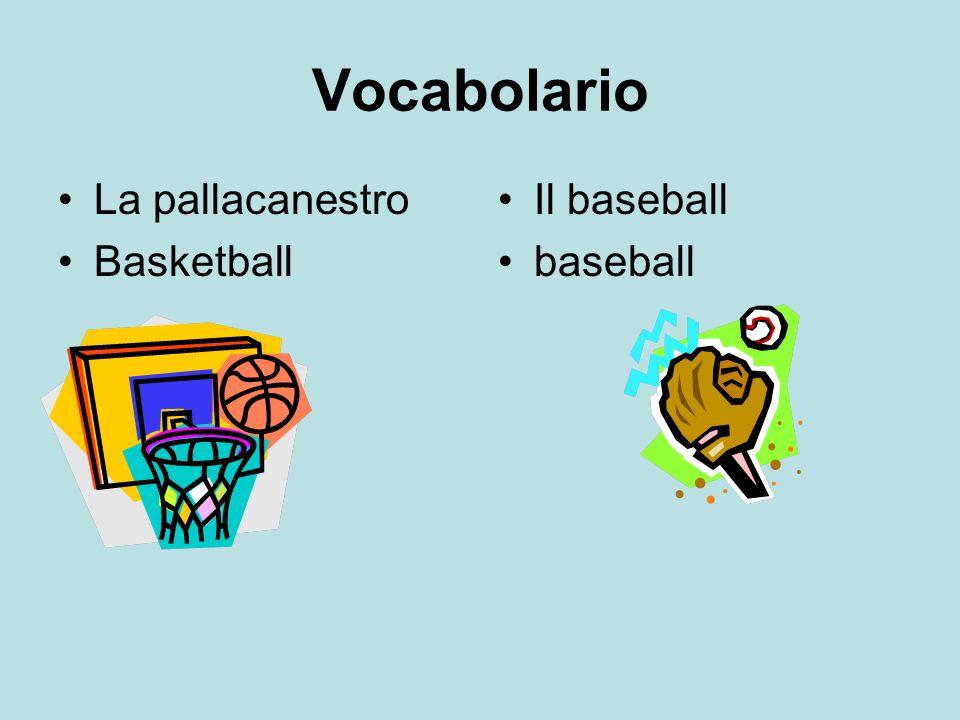 Vocabolario La pallacanestro Basketball Il baseball baseball