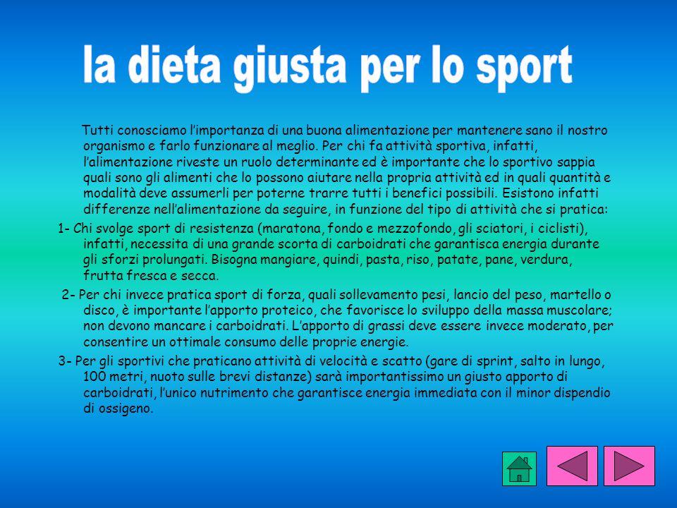 la dieta giusta per lo sport