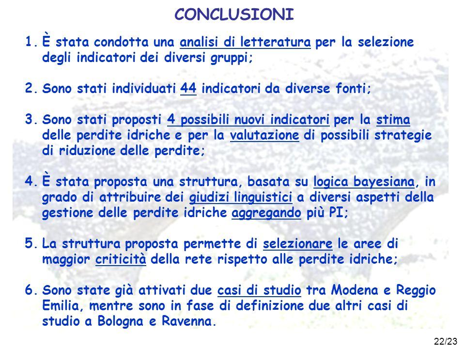 CONCLUSIONI È stata condotta una analisi di letteratura per la selezione degli indicatori dei diversi gruppi;
