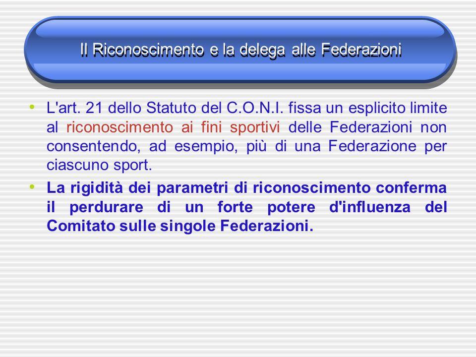 Il Riconoscimento e la delega alle Federazioni