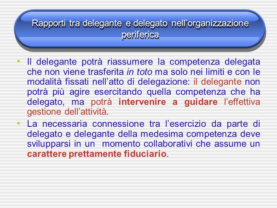 Rapporti tra delegante e delegato nell'organizzazione periferica