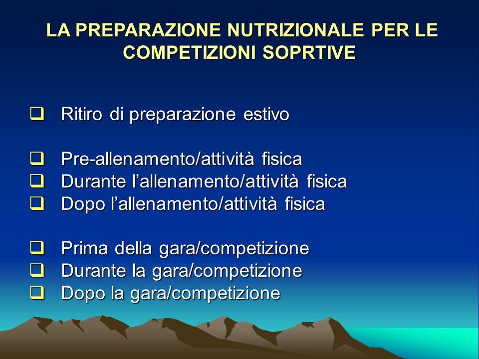 LA PREPARAZIONE NUTRIZIONALE PER LE COMPETIZIONI SOPRTIVE
