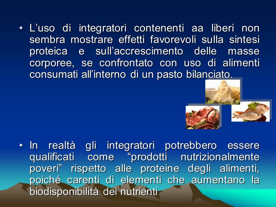 L'uso di integratori contenenti aa liberi non sembra mostrare effetti favorevoli sulla sintesi proteica e sull'accrescimento delle masse corporee, se confrontato con uso di alimenti consumati all'interno di un pasto bilanciato.