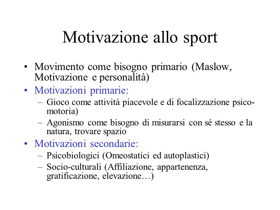 Motivazione allo sport