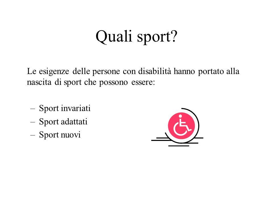 Quali sport Le esigenze delle persone con disabilità hanno portato alla nascita di sport che possono essere: