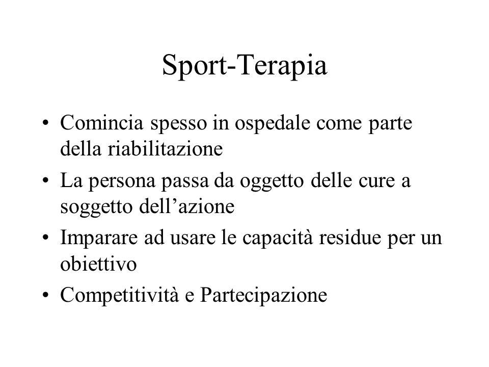 Sport-Terapia Comincia spesso in ospedale come parte della riabilitazione. La persona passa da oggetto delle cure a soggetto dell'azione.