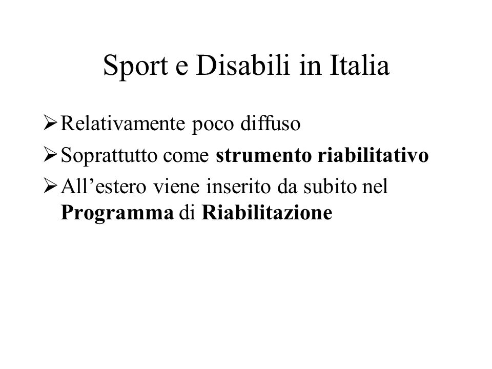 Sport e Disabili in Italia